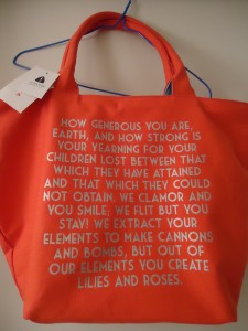 Lines by popular poet Khalil Gibran on a bag (spotted by ed. in the same department, same day)